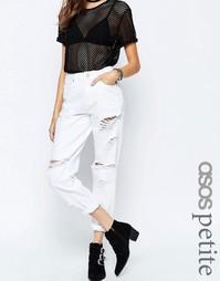 Белые рваные джинсы в винтажном стиле ASOS PETITE Original - Белый