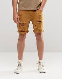 Рваные джинсовые шорты слим коричневого цвета ASOS - Резиновый