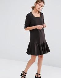 Платье с оборкой на подоле See U Soon - Черный