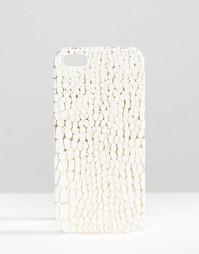 Чехол для Iphone 5 с эффектом змеиной кожи Missguided - Кремовый