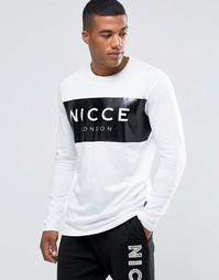 Лонгслив с прорезиненным логотипом Nicce London - Белый