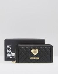 Стеганый кошелек Love Moschino - Черный