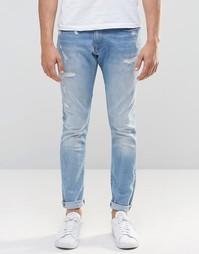 Светлые состаренные джинсы слим G-Star 3301-A - Слегка потертая 46