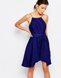 Платье мини с завязкой на талии C/meo Collective - Темно-синий
