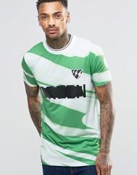 Длинная зеленая футболка с принтом ASOS - Зеленый