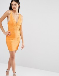 Бандажное облегающее платье Missguided Premium - Мандариновый