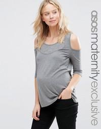 Футболка для беременных и кормящих с вырезами на плечах ASOS Maternity