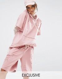 Худи с короткими рукавами из ткани с дырками Jaded X Granted - Розовый