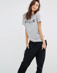 Oversize-футболка бойфренда с логотипом спереди Nicce London - Серый