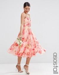 Сетчатое платье‑трансформер миди с цветочным принтом ASOS TALL WEDDING