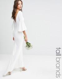 Платье макси с пуговицами сзади и рукавами-колокол Jarlo Tall - Белый