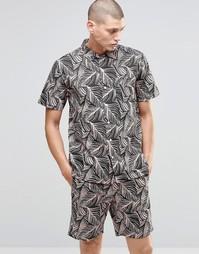 Рубашка с короткими рукавами и тропическим принтом HUF - Smoke pink