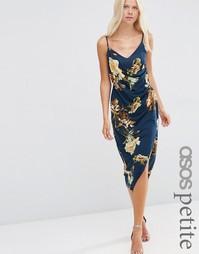 Платье на бретельках с драпировкой и золотистыми розами ASOS PETITE