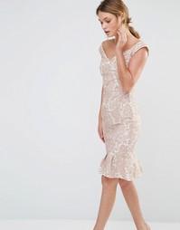 Кружевное платье с широким вырезом и складками на подоле Paper Dolls