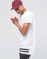 Удлиненная футболка с полосками по низу Selected Homme - Белый