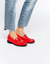 Лоферы на плоской подошве с бахромой Glamorous - Bright red