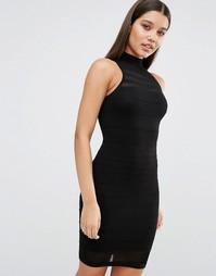 Платье с прозрачными полосками Fleur East by Lipsy - Черный