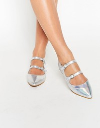 Серебристые туфли на плоской подошве Daisy Street - Silver holographic
