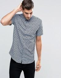 Рубашка с принтом и короткими рукавами Jack & Jones Premium - Синий