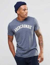 Синяя облегающая футболка Abercrombie & Fitch - Синий