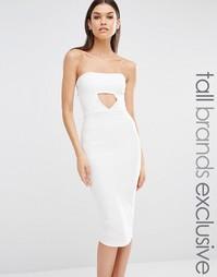 Эксклюзивное платье-бандо миди с вырезами Missguided Tall - Белый