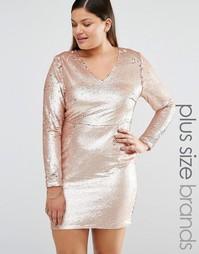 Платье мини с отделкой пайетками Missguided Plus - Золотой