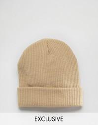 Свободная шапка-бини песочного цвета Reclaimed Vintage - Бежевый