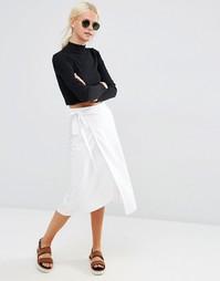 Льняная юбка миди с запахом ASOS - Белый