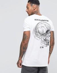 Длинная футболка с принтом черепа сзади ASOS - Белый