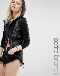 Байкерская куртка из искусственной кожи и трикотажа Noisy May Petite