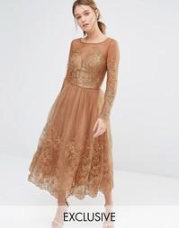 Тюлевое платье с длинными рукавами и вышивкой Chi Chi London