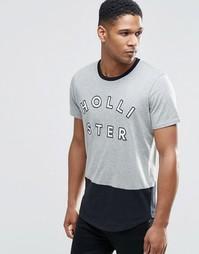 Серая облегающая футболка с логотипом Hollister - Серый с черным