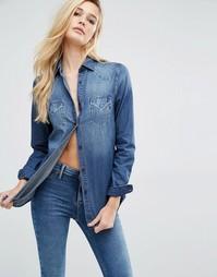 Джинсовая рубашка Replay - Выбеленный голубой