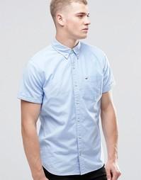 Синяя оксфордская рубашка зауженного кроя с короткими рукавами Hollist Hollister