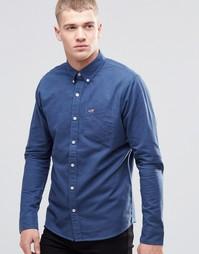 Темно-синяя оксфордская рубашка зауженного кроя Hollister