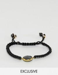 Черный плетеный браслет с монетой Designb - Черный