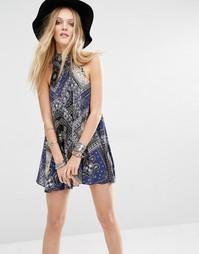 Платье-сорочка с платочным принтом Free People - Черный 0010