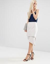 Ассиметричная юбка-карандаш ASOS Premium - Серебряный