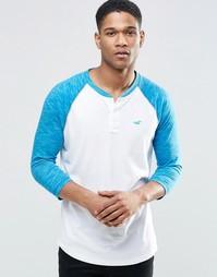 Белая футболка слим с рукавами 3/4 Hollister - Белый