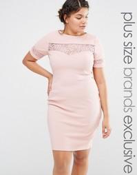 Платье-футляр с кружевной вставкой Paper Dolls Plus - Розовый