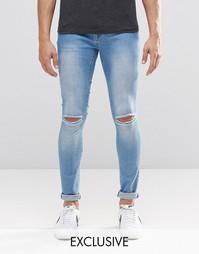 Светлые рваные супероблегающие джинсы Brooklyn Supply Co Dyker