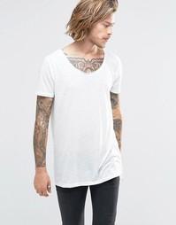 Длинная футболка в льняном стиле с овальным вырезом ASOS - Белый