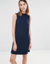 Платье-свитшот без рукавов Selected - Темно-синий меланж