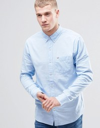 Синяя рубашка зауженного кроя из поплина Hollister - Синий
