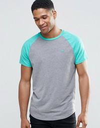 Серая футболка с контрастными рукавами реглан Hollister - Серый