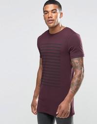 Бордовая удлиненная облегающая футболка с полосками ASOS
