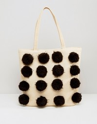 Пляжная сумка с помпонами Monki - Light beige