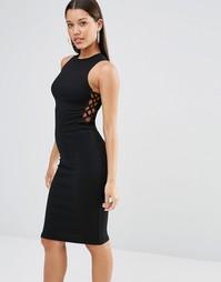 Платье миди в рубчик со шнуровкой сбоку Missguided - Черный