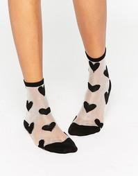 Прозрачные носки в сердечко Monki - Черный