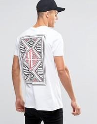 Длинная футболка с ацтекским принтом сзади ASOS - Белый